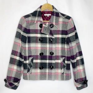 CAbi 208 Plaid Cropped Pea Coat Purple Pink Wool